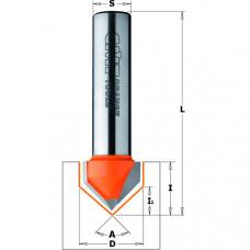 Фреза пазовая V-образная 90° CMT 12.7x12.7x44.5x6 A 90° 715.127.11