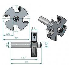 Фреза для выборки четверти со сменными ножами Z4 WPW C=22.2 57x12x67x12 EM42222