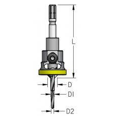 Сверло-зенковка ступенчатое со стопорным кольцом Festool CENTROTEC WPW D1=4 D2=2.8 D=9.5 L=74 AFP4004M