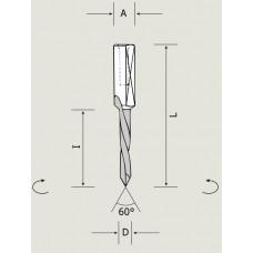 Сверло сквозное HWM цельнотвердосплавное для присадочного станка Nordutensili D5x70 S10x24 LH 02605007022P